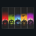 """Multi-Color Halloween Pumpkin Laminated Placemats<br><div class=""""desc"""">This fun double sided Halloween placemat has some pumpkins on it.</div>"""