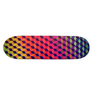 Multi color Isometric Cube Pattern Skateboard