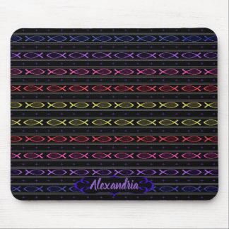 multi-color Jesus fish pattern Mouse Pad