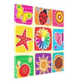 Multi color,kids,butterflies,sun,hearts,mariposa, canvas print