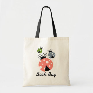 Multi Color ladybug Book Bag.green pink grey Tote Bag