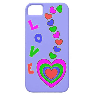 Multi Color Love and Hearts Lavender iPhone 5 Case
