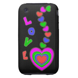 Multi Color Love Hearts Black iPhone 3 Case