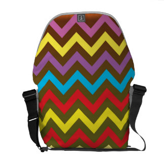 Multi Color Medium Messenger Bag Outside Print