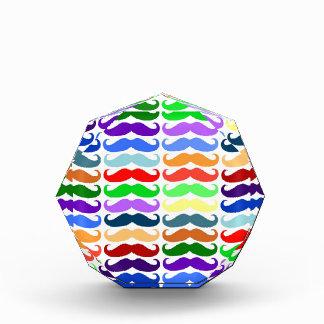 Multi color mustache pattern elegant chic cute fun acrylic award