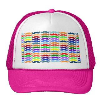 Multi color mustache pattern elegant chic cute fun trucker hat