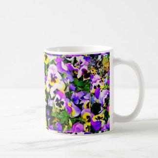 multi-color pansy flowers coffee mug