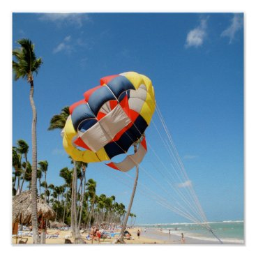 Beach Themed Multi-Color Parasail on Florida Beach Sand Poster