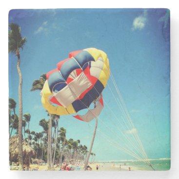 Beach Themed Multi-Color Parasail on Florida Beach Sand Stone Coaster