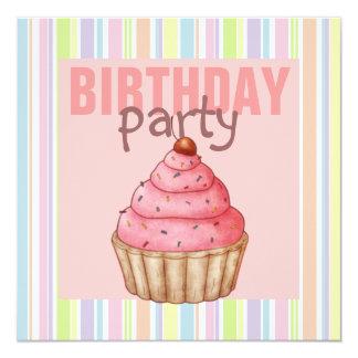 Multi Color Party Cupcake Birthday Invitation