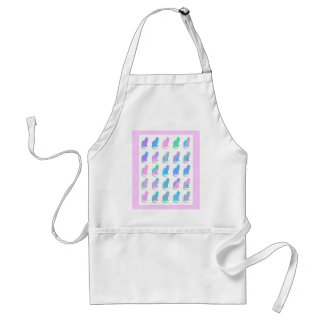 Multi-Color Pastel Abstract Swirls Cats Pattern Apron
