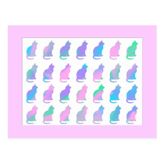 Multi-Color Pastel Abstract Swirls Cats Pattern Postcards