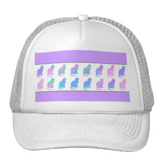 Multi-Color Pastel Abstract Swirls Cats Pattern Trucker Hat