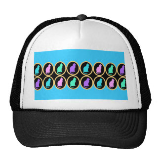 Multi-Color Pastel Blue Gold Cats Pattern Trucker Hat