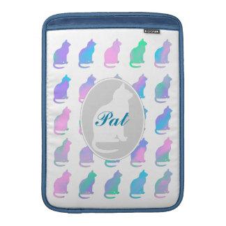 Multi-Color Pastel & Blue Green Swirl Cats Pattern MacBook Sleeve