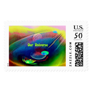 Multi-Color Pastel Our Universe Planetary Art Postage