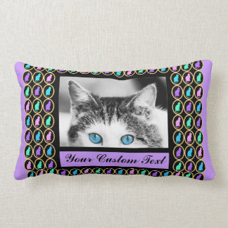 Multi-Color Pastel Purple & Gold Cats Pattern Throw Pillow