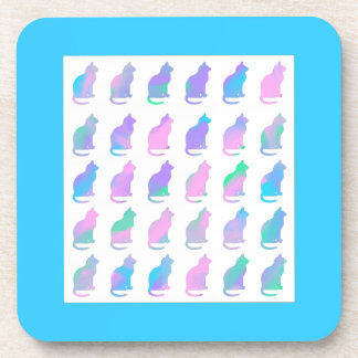 Multi-Color Pastel & Turquoise Swirls Cats Pattern Beverage Coasters