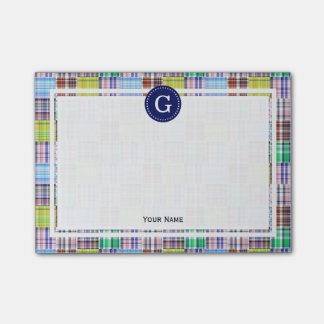 Multi Color Patchwork Madras Plaid 1IR Framed Post-it Notes