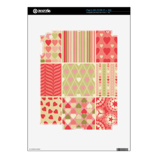 Multi color & pattern girly trendy retro red teal skin for the iPad 2