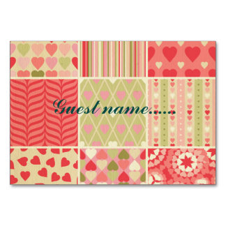Multi color & pattern girly trendy retro red teal table cards