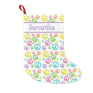 Multi Color Peace Signs Small Christmas Stocking