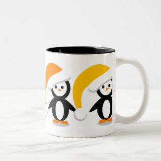 Multi_Color_Penguin_Caps Two-Tone Coffee Mug