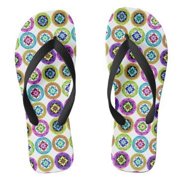 Beach Themed Multi-color plate pattern flip flops