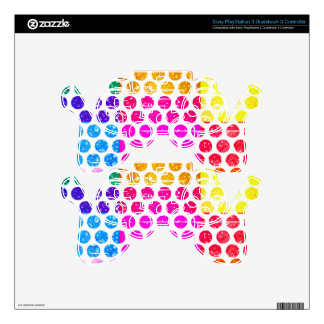 multi color polka dot worn trendy fun girly modern PS3 controller skins