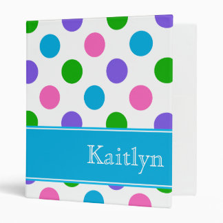 Multi Color Polka Dots   Blue Personalized 3 Ring Binder