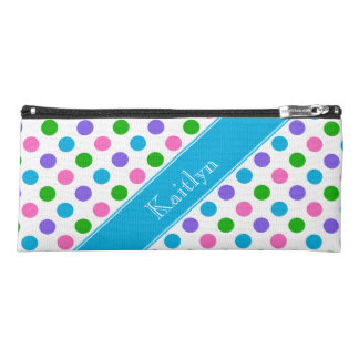 Multi Color Polka Dots | Blue | Personalized Pencil Case