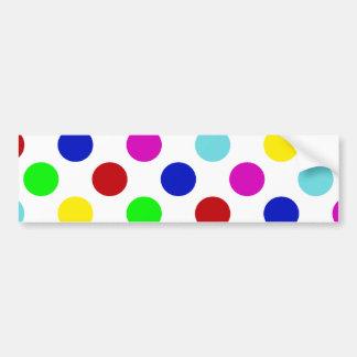 Multi Color Polka Dots Car Bumper Sticker