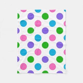 Multi Color Polka Dots Fleece Blanket