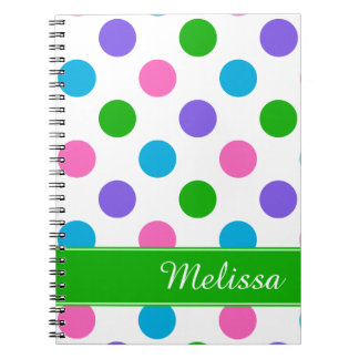 Multi Color Polka Dots | Green Personalized Spiral Notebook
