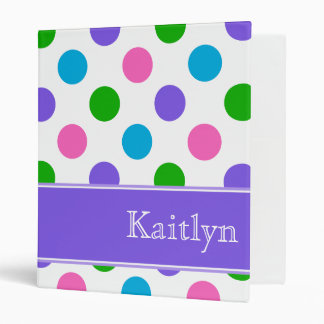 Multi Color Polka Dots Personalized 3 Ring Binder