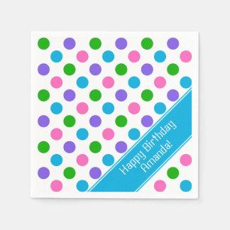 Multi Color Polka Dots | Personalized | Blue Napkin