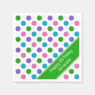 Multi Color Polka Dots | Personalized | Green Napkin