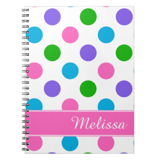 Multi Color Polka Dots | Pink Personalized Notebook