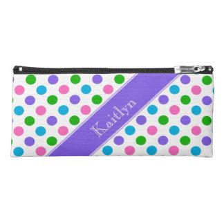 Multi Color Polka Dots | Purple | Personalized Pencil Case