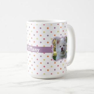 Multi-Color Polka Dots w/ Purple Ribbon PhotoFrame Coffee Mug