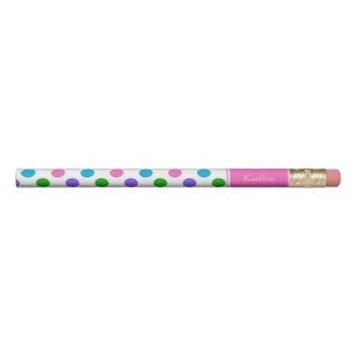 Multi Color Polka Dots with Pink Personalized Pencil
