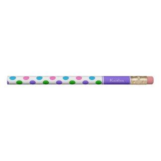 Multi Color Polka Dots with Purple Personalized Pencil