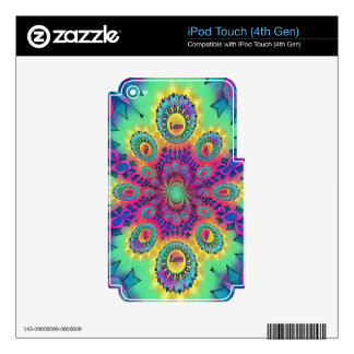 Multi-Color Psychedelic Love is Love Retro Pattern iPod Touch 4G Decal