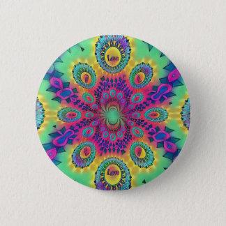 Multi-Color Psychedelic Love is Love Retro Pattern Pinback Button