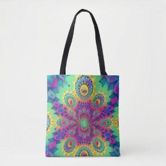 Multi-Color Psychedelic Love is Love Retro Pattern Tote Bag