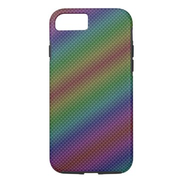 Beach Themed Multi-Color Rainbow Carbon Fiber iPhone 7 Case