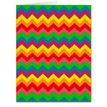 Multi Color Rainbow Chevrons Pattern Large Greeting Card
