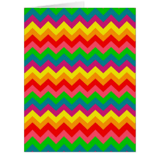 Multi Color Rainbow Chevrons Pattern Greeting Cards