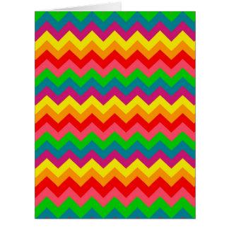 Multi Color Rainbow Chevrons Pattern Card