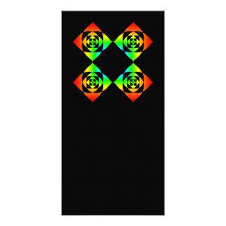 Multi-Color Rainbow Flowers. On Black. Custom Picture Card
